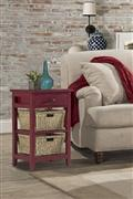 Hillsdale Furniture Tuscan Retreat® 2 Basket 1 Drawer Open Side Stand - Antique Red
