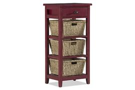 Hillsdale Furniture Tuscan Retreat® 3 Basket 1 Drawer Open Side Stand - Antique Red