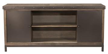 Hillsdale Furniture Jennings Entertainment Center with 4 Shelves and Sliding Door - Distressed Walnut