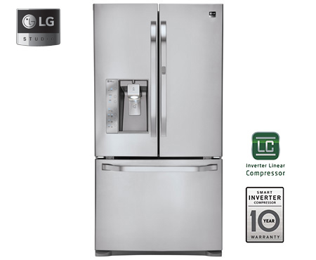 Model: LSFD2491ST | LG Studio - Ultra-Large Capacity Counter-Depth 3 Door French Door Refrigerator with Door-in-Door