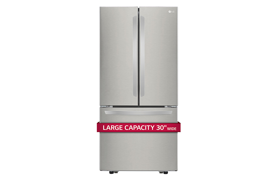 "LG 22 cu. ft. Large Capacity 30"" Wide 3-Door French Door Refrigerator"