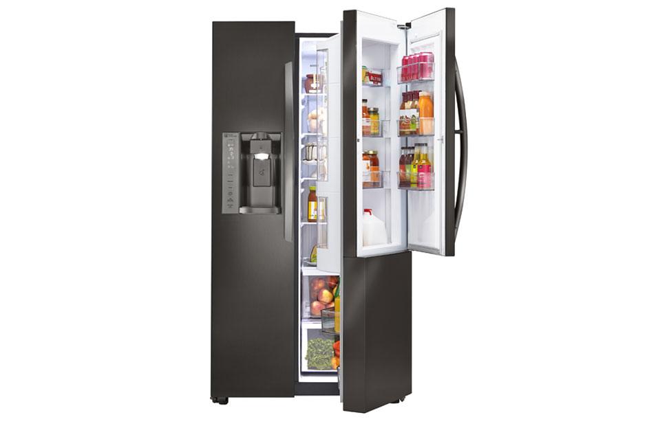 LG Black Stainless Steel Series 22 cu. ft. Side-By-Side Counter-Depth Refrigerator w/Door-in-Door
