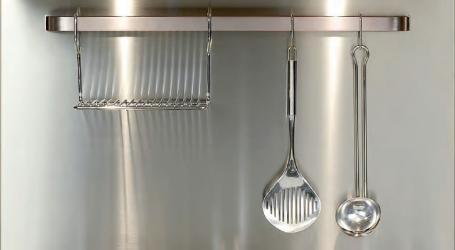 Ilve stainless steel backsplash