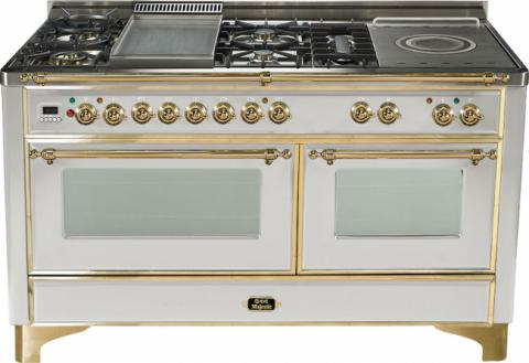 Majestic 60-inch Range-Stainless Steel with Brass Trim and French cooktop