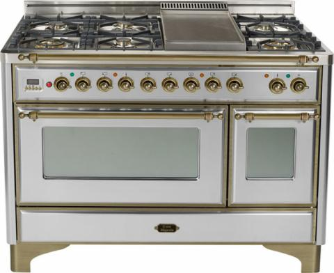Majestic 48-inch Range-Stainless Steel With Bronze Trim and French Cooktop