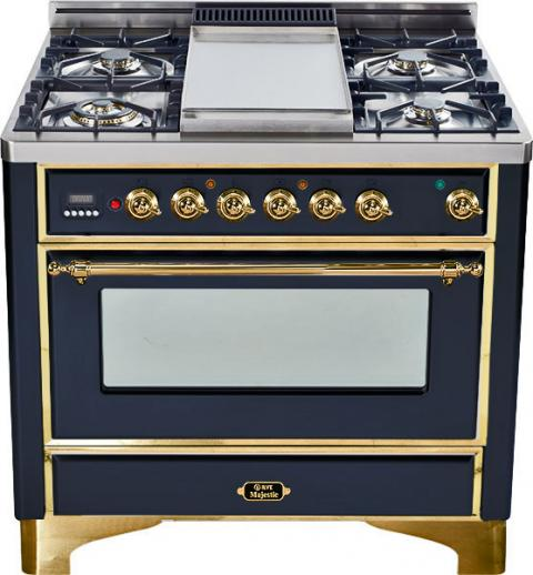 Majestic 36-inch Range-Gloss Black with Brass Trim and Griddle