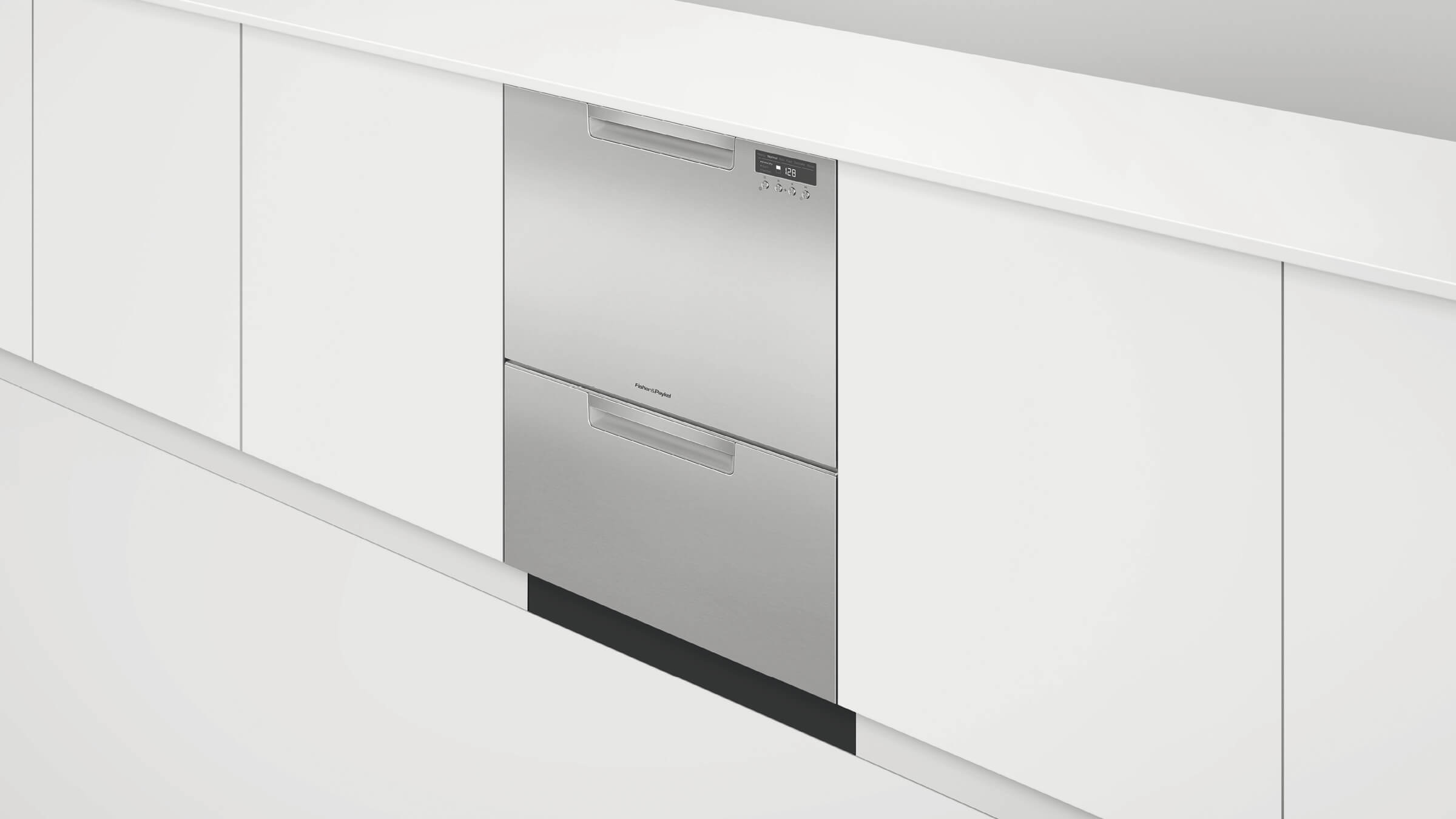 Tall Double DishDrawer dishwasher incl Sanitize, Extra Dry, full flex racking and water softener
