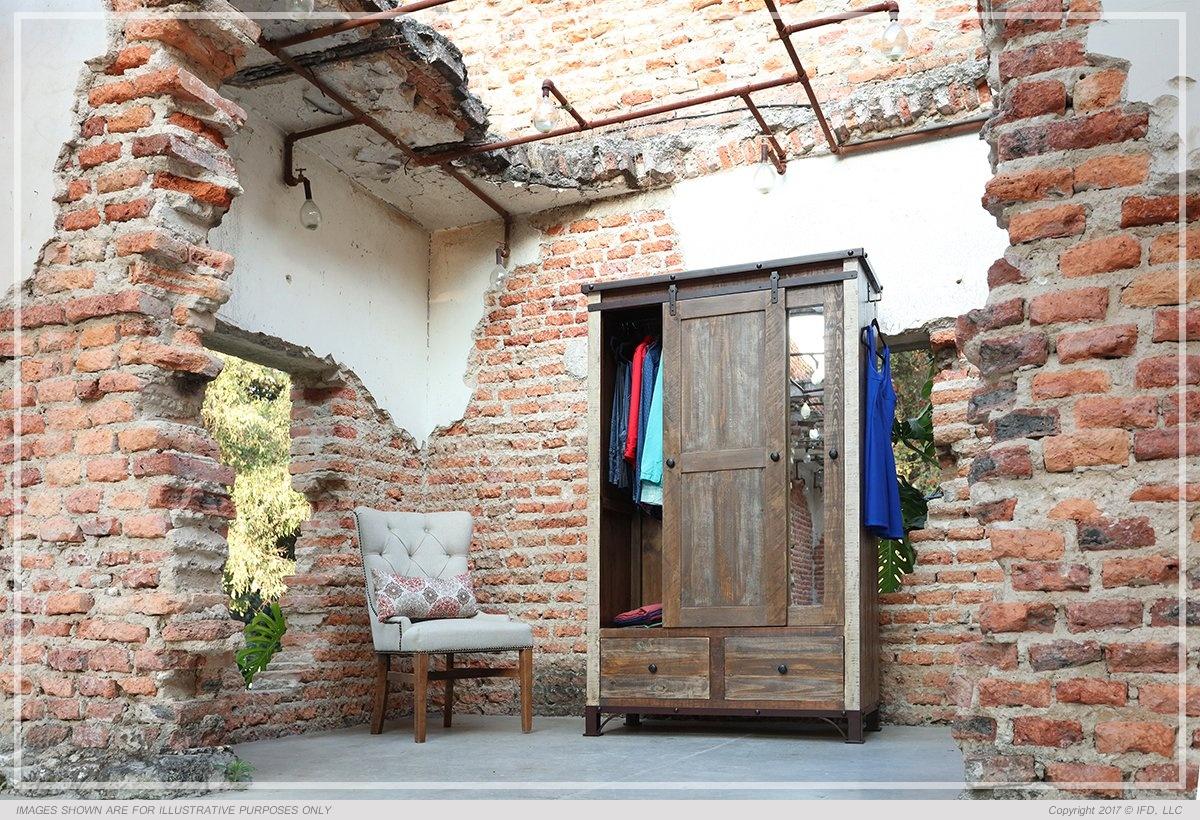 International Furniture 2 Drawer, 1 Sliding door, 1 Mirror Door Armoire_x000D_ 206 lb
