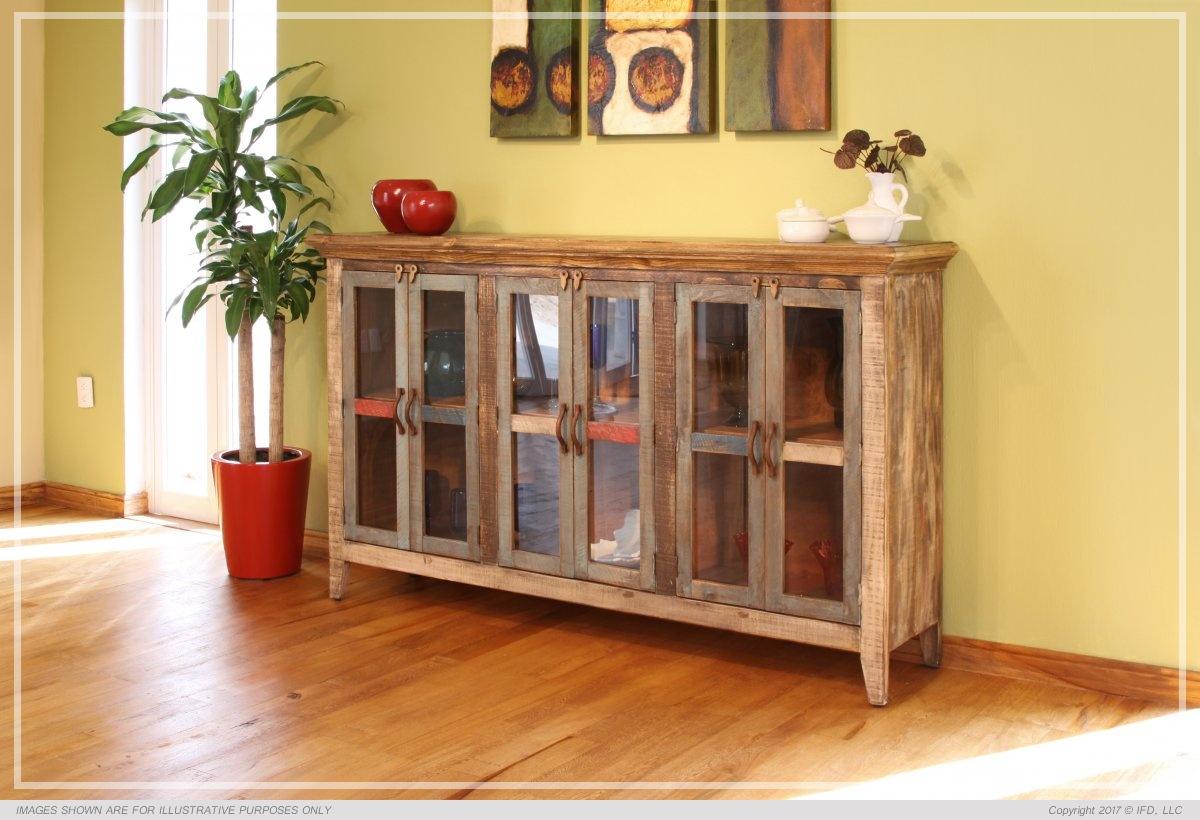 "International Furniture 73\"" Console w/6 glass doors_x000D_ 90 lb"