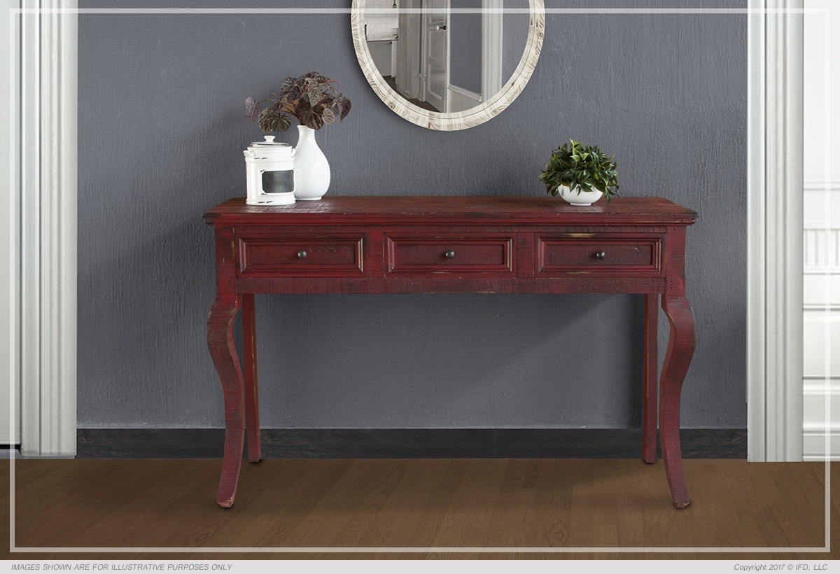 Sofa Table w/ 3 Drawers - Red Currat finish_x000D_ 43 lb