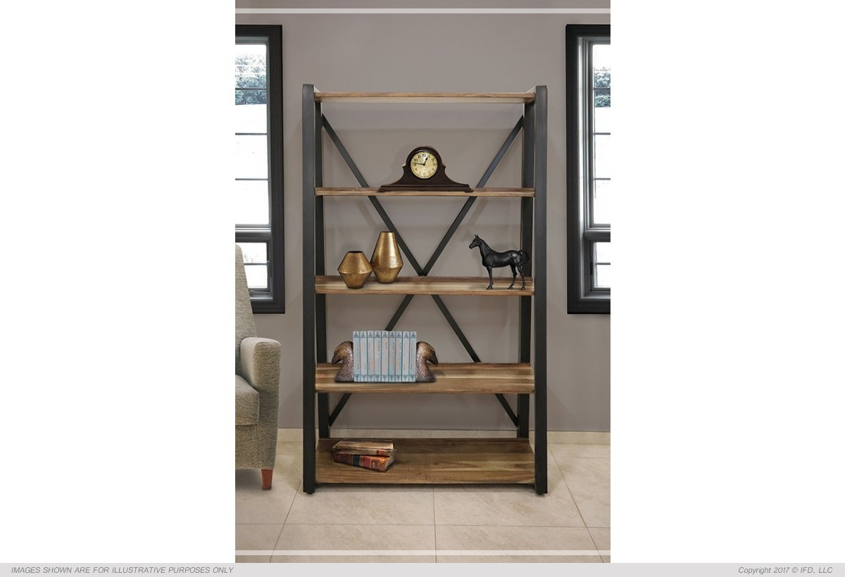 "International Furniture 70"" Wood and Metal Bookcase_x000D_ 100 lb"
