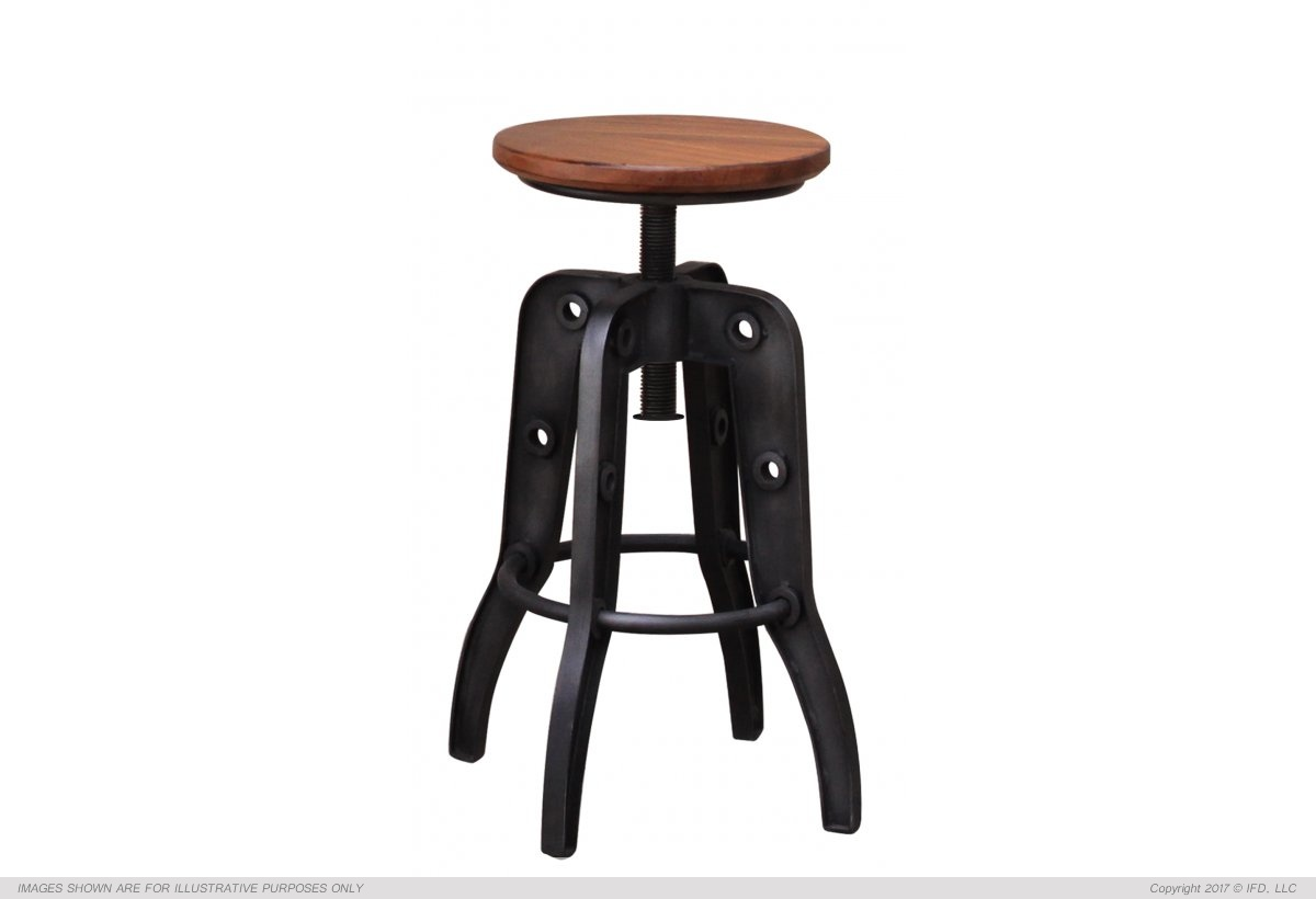 "International Furniture 24-30"" Adjustable Height Swivel Stool, Wooden Seat, Iron base_x000D_ 39 lb"