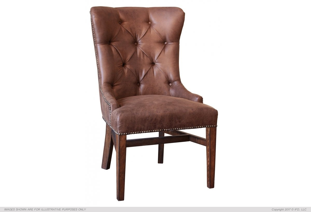 Brown Fabric chair with tufted back**_x000D_ 30 lb