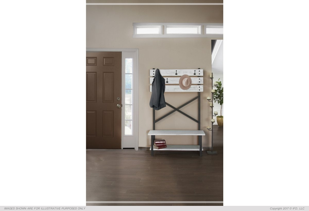 International Furniture Hal Tree - Bench w/ hooks, White finish_x000D_ 45 lb