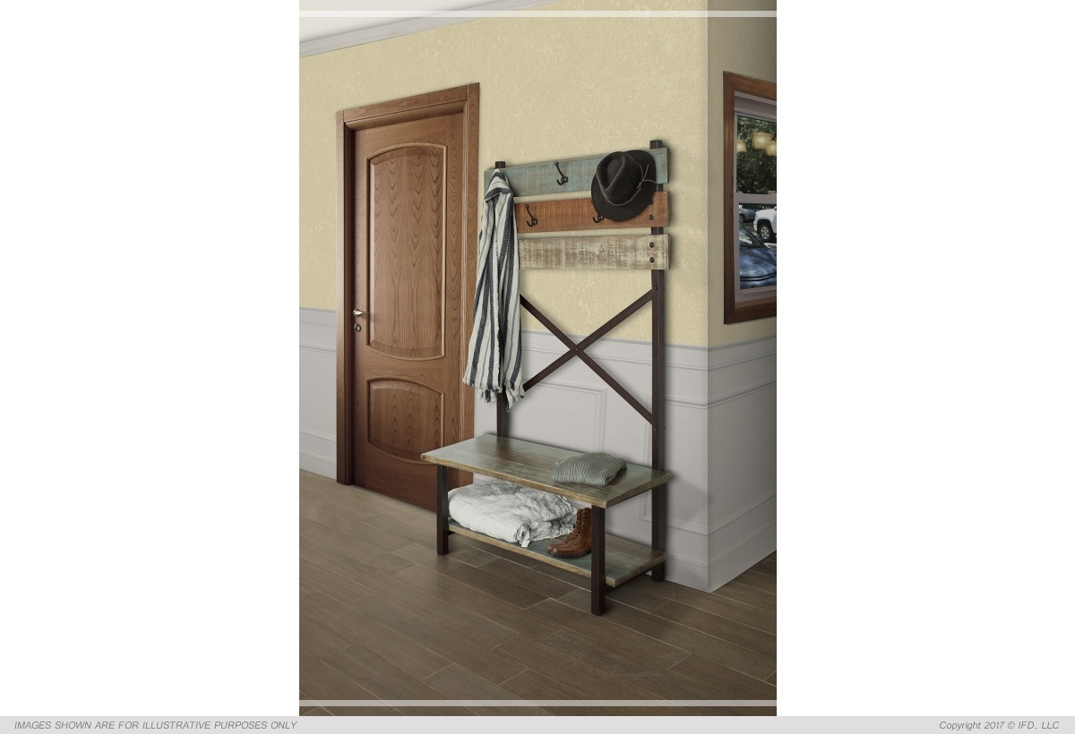 International Furniture Hall Tree - Bench w/ hooks_x000D_ 45 lb