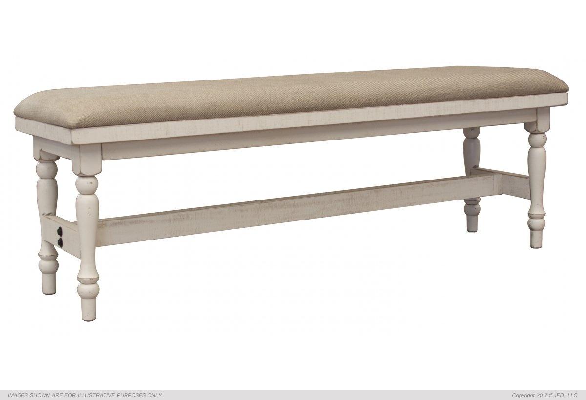 International Furniture Breakfast Bench w/ Turned Legs & Fabric Seat_x000D_ 62 lb
