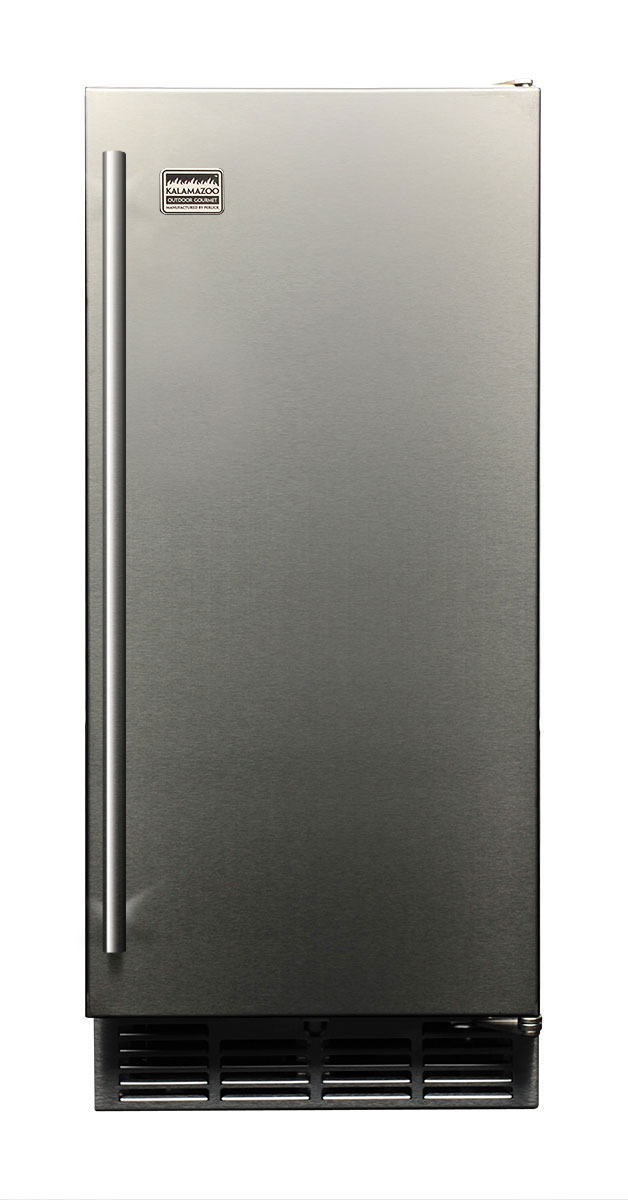 "Kalamazoo Outdoor-rated 15"" clear ice maker."