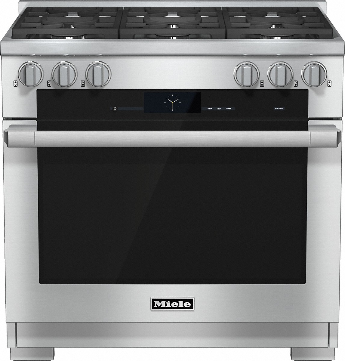 Model: HR 1934 G-FM | Miele 36 inch rangeDual Fuel with M Touch controls, Moisture Plus and M Pro dual stacked burners