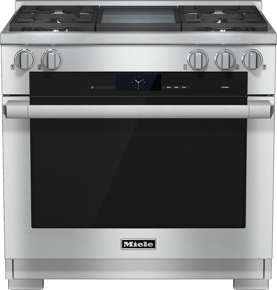 Model: 25193651USA | Miele 36 inch rangeDual Fuel with M Touch controls, Moisture Plus and M Pro dual stacked burners