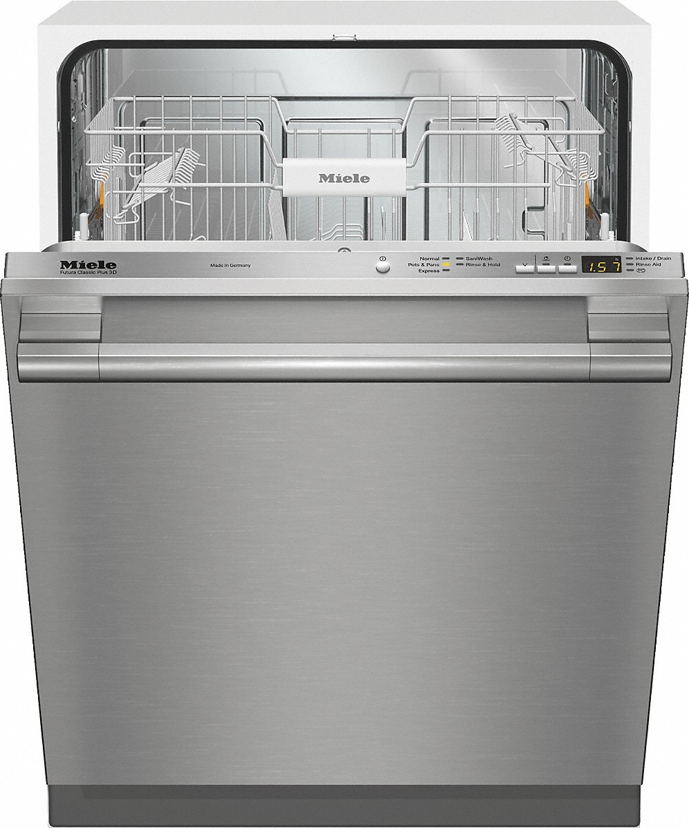 Fully-integrated, full-size dishwasherwith hidden control panel