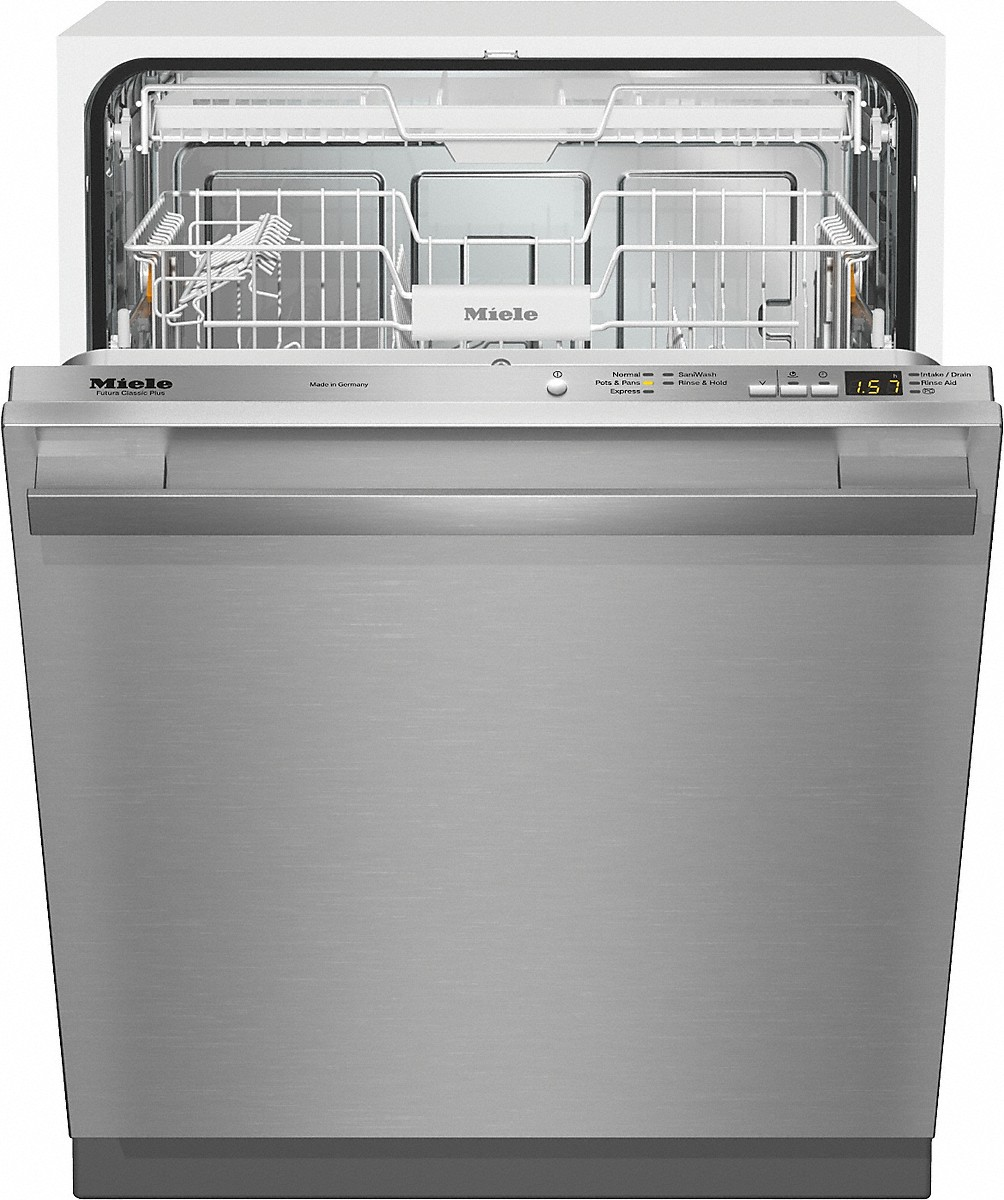Fully-integrated, full-size dishwasher with hidden control panel