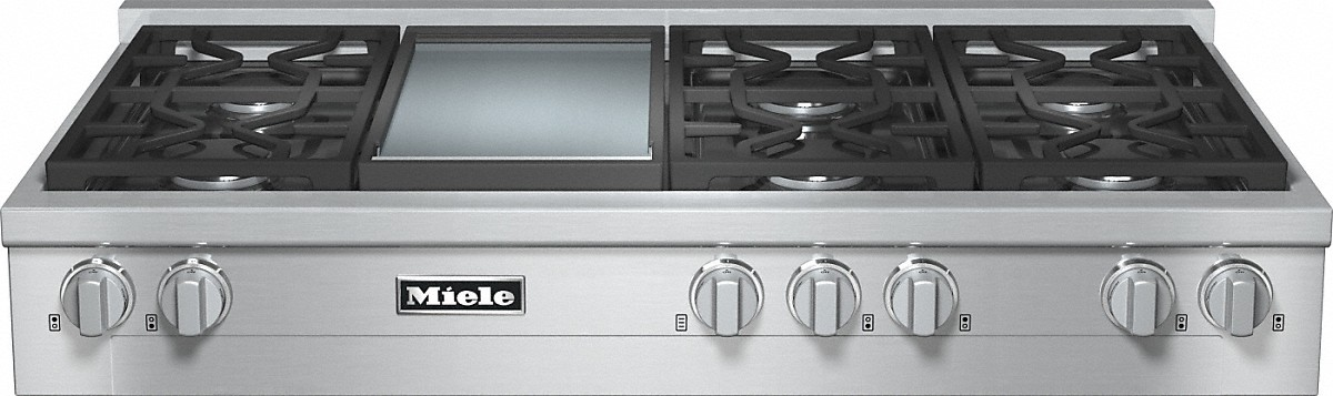 Miele RangeTop with 6 burners and griddle for versatility and performance