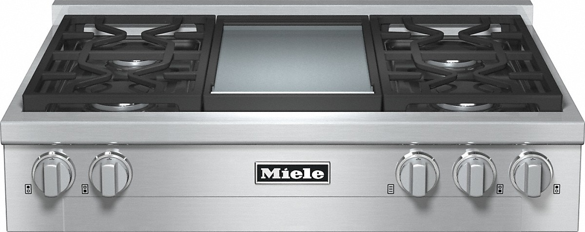 Miele RangeTop with 4 burners and griddle for versatility and performance