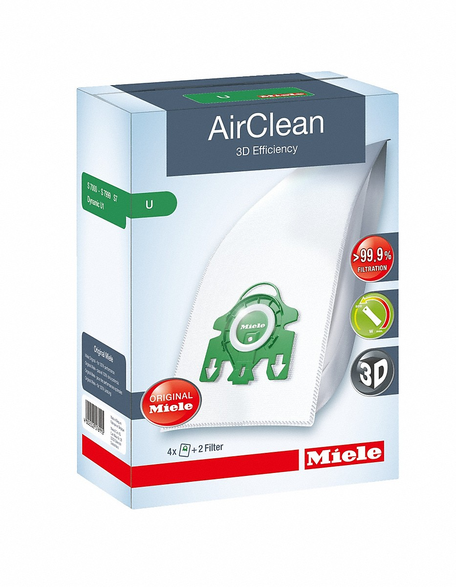 AirClean 3D Efficiency U dustbagsensures that dust picked up stays inside the machine.