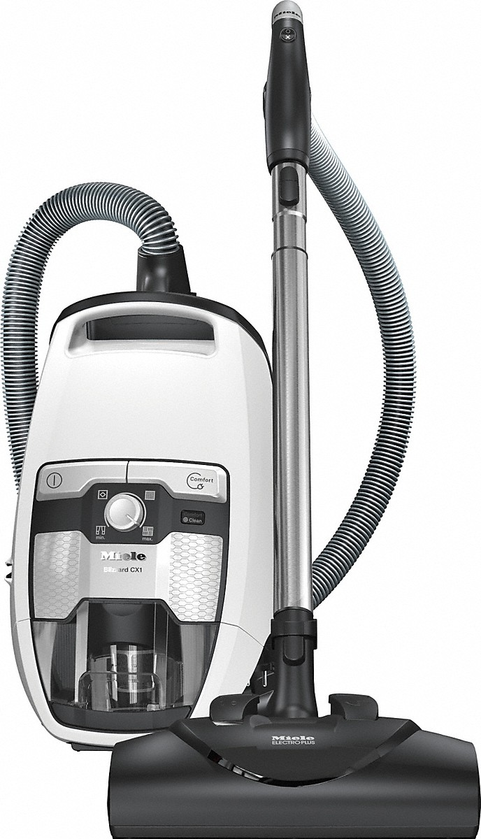Miele Bagless canister vacuum cleanerswith electrobrush for thorough cleaning of heavy-duty carpeting.