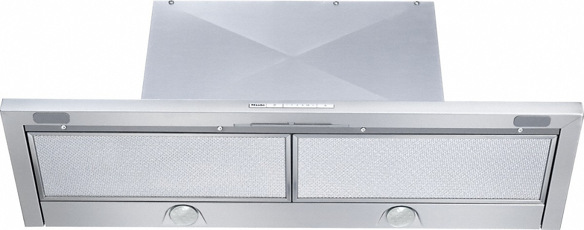 Miele Built-in ventilation hoodwith energy-efficient LED lighting and backlit controls for easy use.