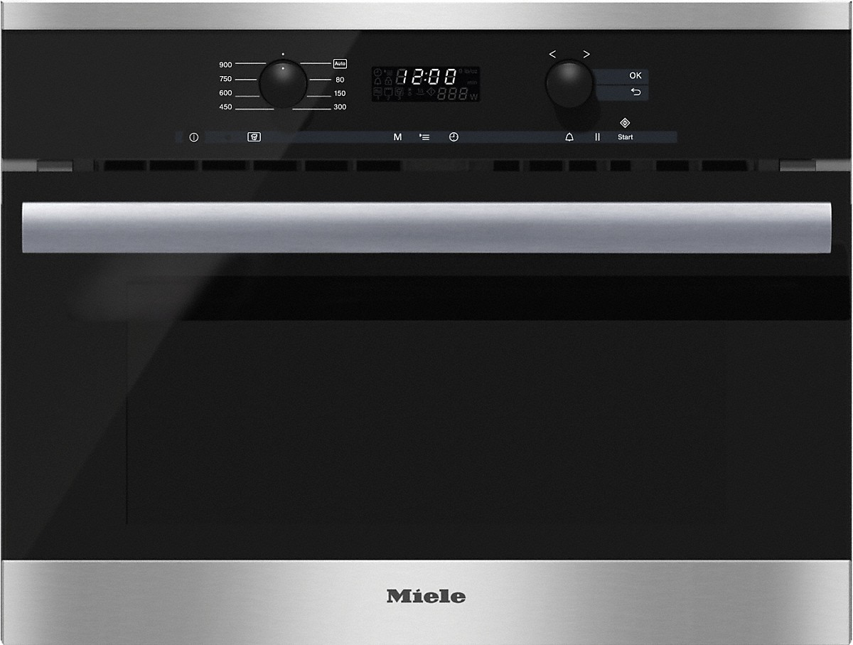 Miele Built-in microwave ovenwith controls along the top for optimal combination possibilities.