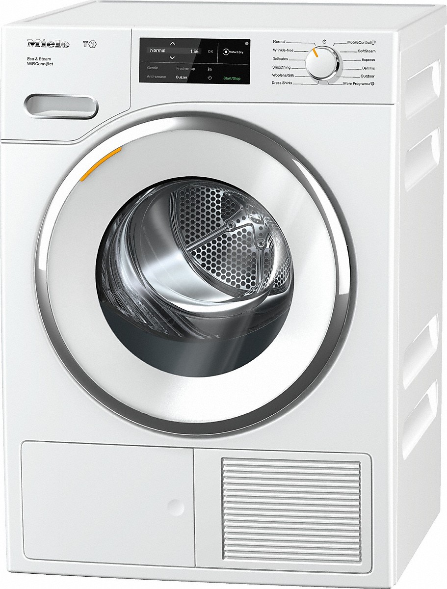 Miele TWI180 T1 Heat-pump tumble dryer with WiFiConn@ct, FragranceDos, and SteamFinish.