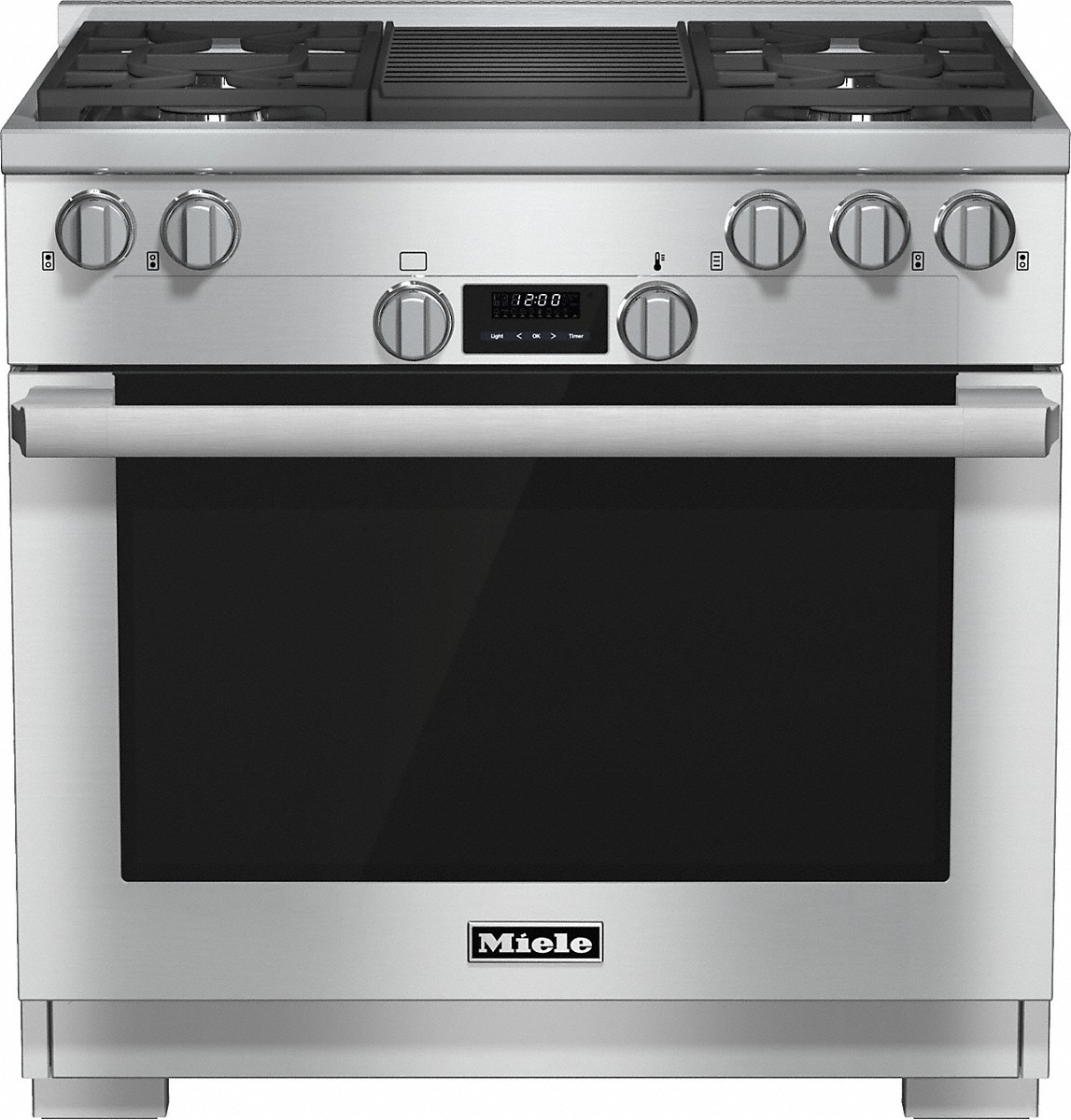 Miele 36 inch range All Gas with DirectSelect, Twin convection fans and M Pro dual stacked burners