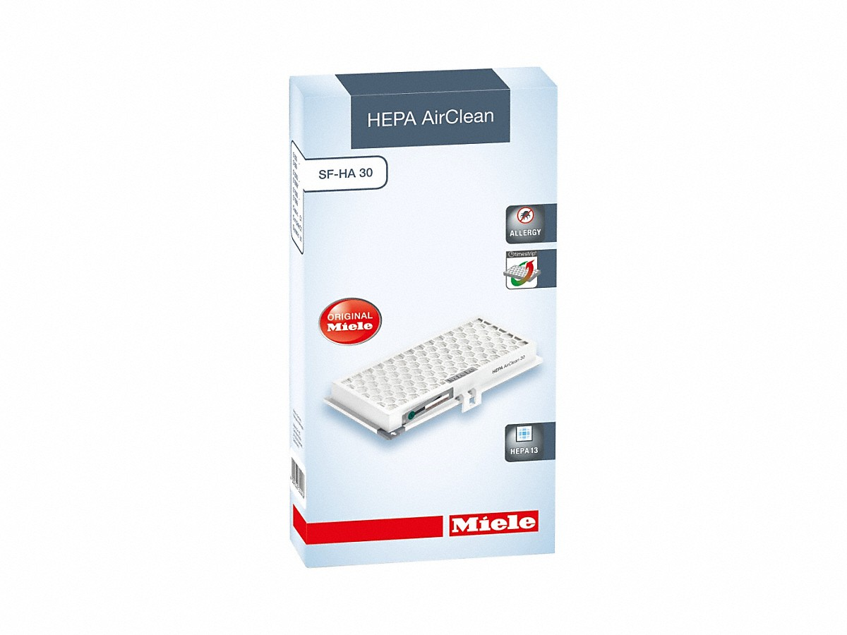 HEPA AirClean filter with timestrip®safely traps fine dust and allergens.