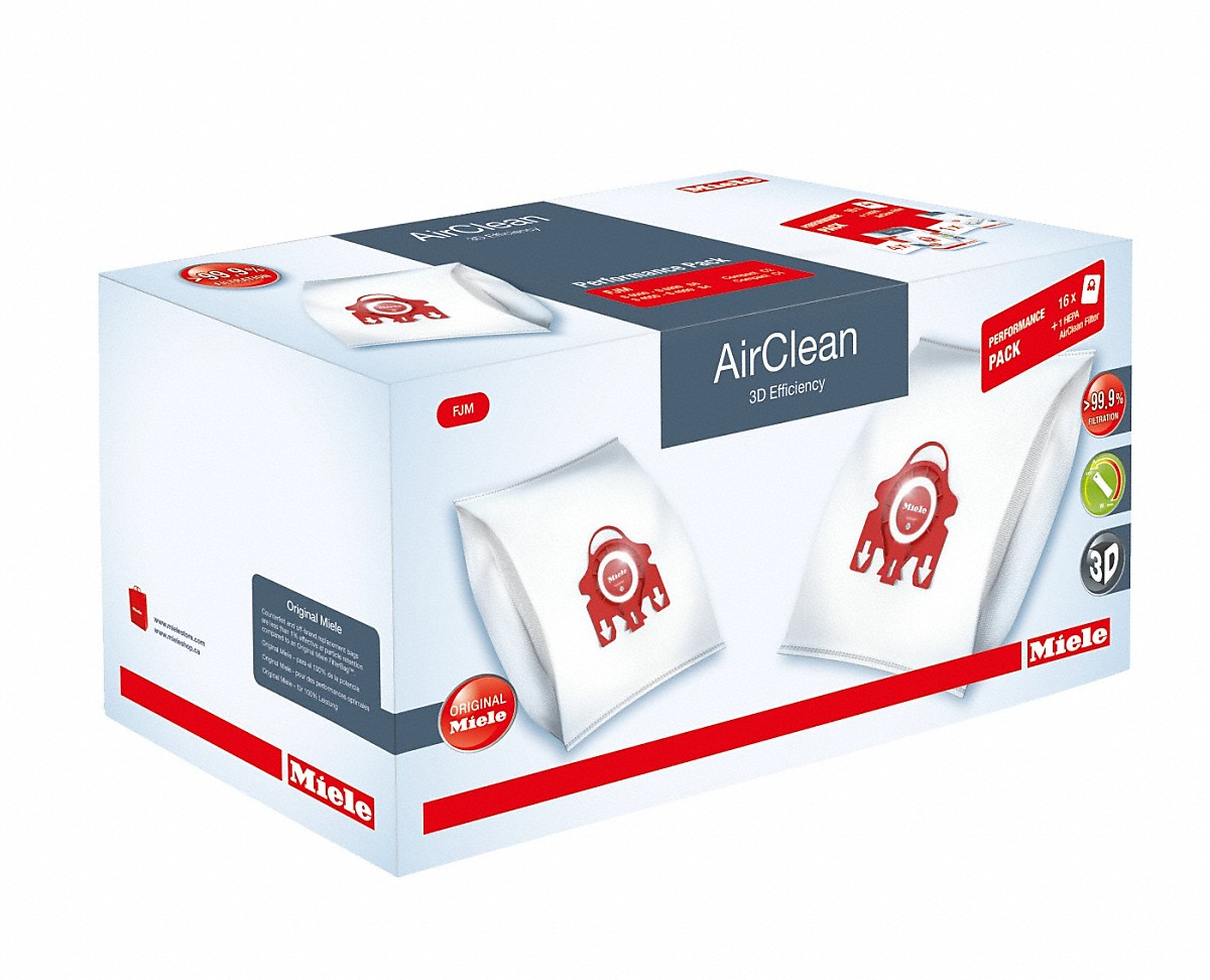 Miele Performance Pack AirClean 3D Efficiency FJM16 dustbags and 1 HEPA AirClean filter at a discount price