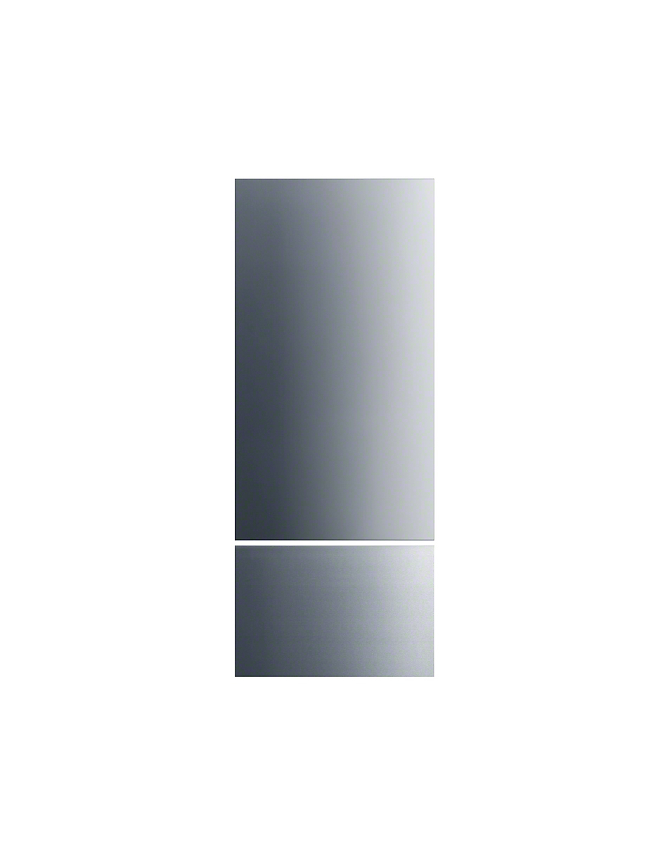 Stainless steel front for stylish integration of MasterCool refrigerators and freezers.