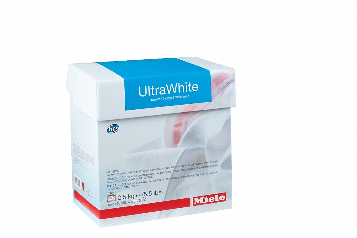 UltraWhite powder detergent 2.5 kg for optimum results with white and colour-fast textiles.