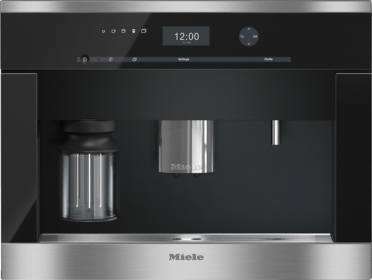 Miele Built-in coffee machinewith bean-to-cup system and OneTouch for Two for perfect coffee enjoyment.