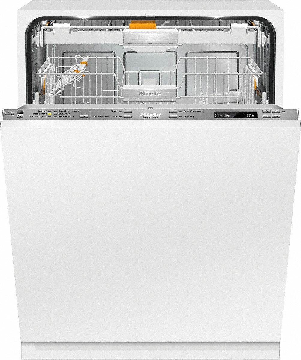 Fully-integrated, full-size dishwasherwith hidden control panel, 3D+ cutlery tray, Knock2open and custom panel ready