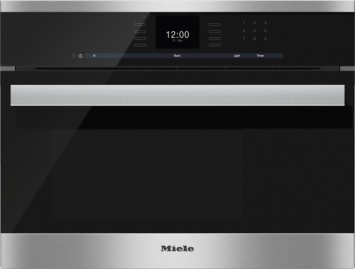 Built-in steam ovenwith a large text display and SensorTronic controls for extra convenience.