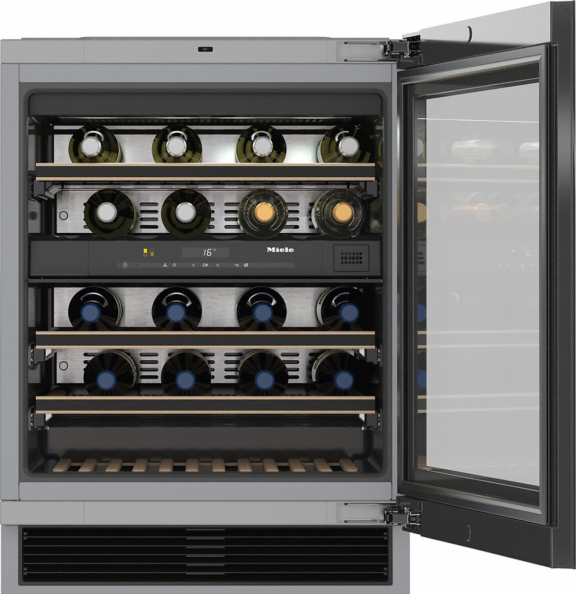Built-under wine storage unit with FlexiFrame and Push2open for greater versatility