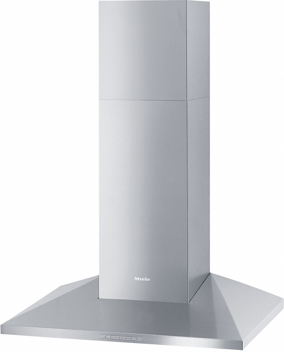 Wall ventilation hood with energy-efficient LED lighting and backlit controls for easy use