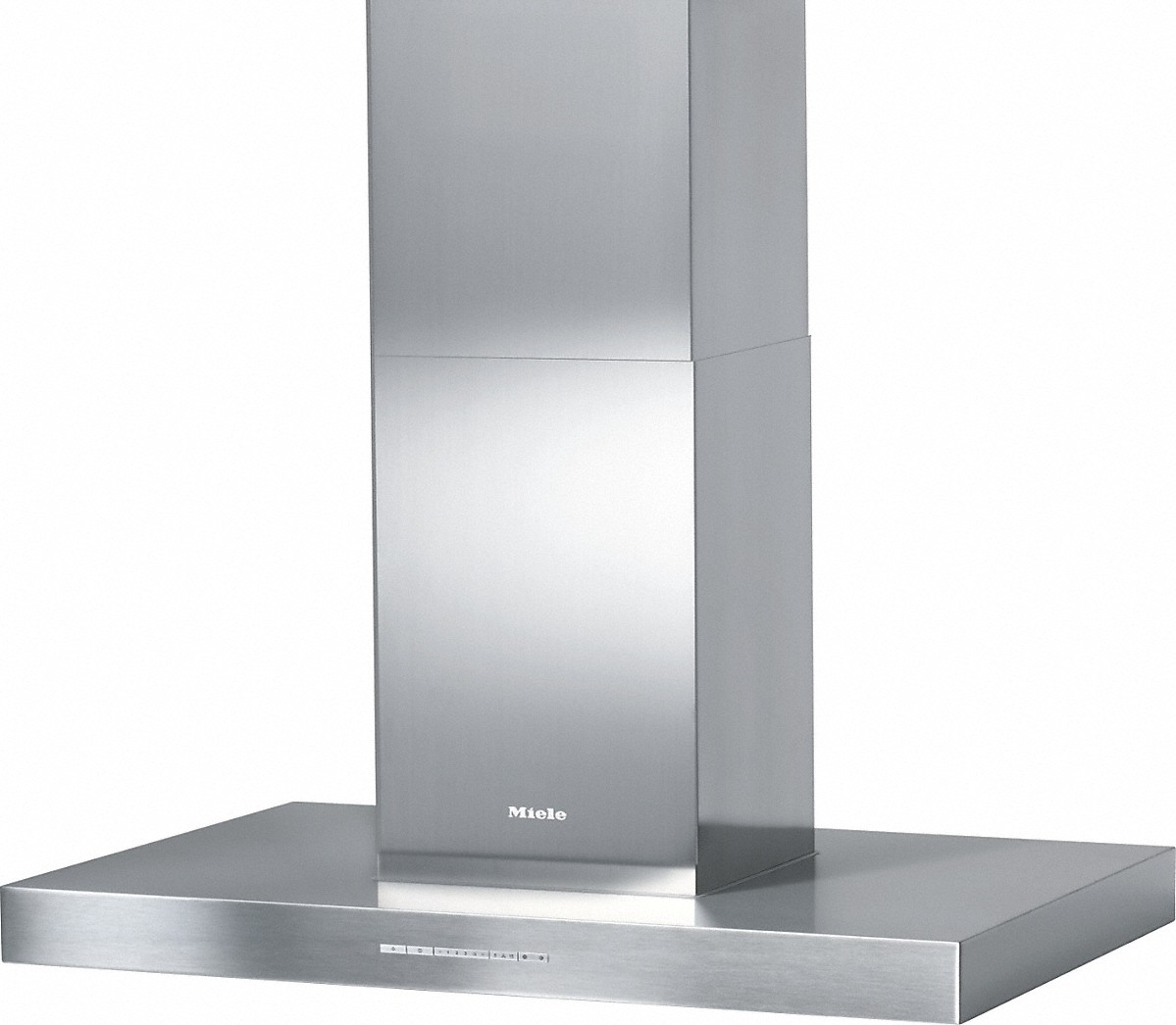Miele Island decor hood with energy-efficient LED lighting and backlit controls for easy use.