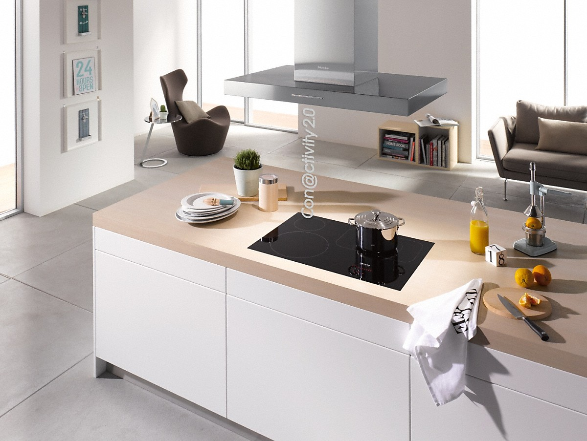 Model: 28659655USA | Miele Island decor hood with energy-efficient LED lighting and backlit controls for easy use.