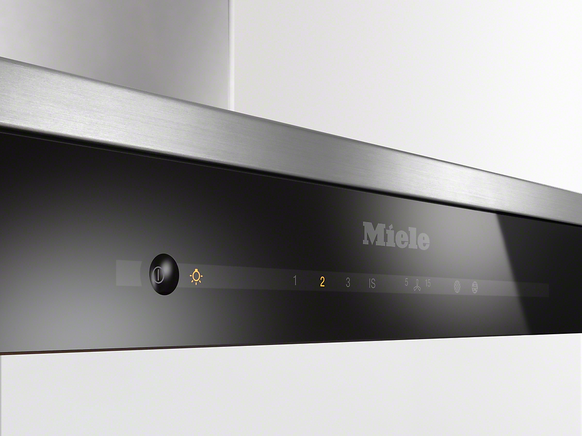 Model: 28669055USA | Miele Island decor hood with energy-efficient LED lighting and touch controls for simple operation.