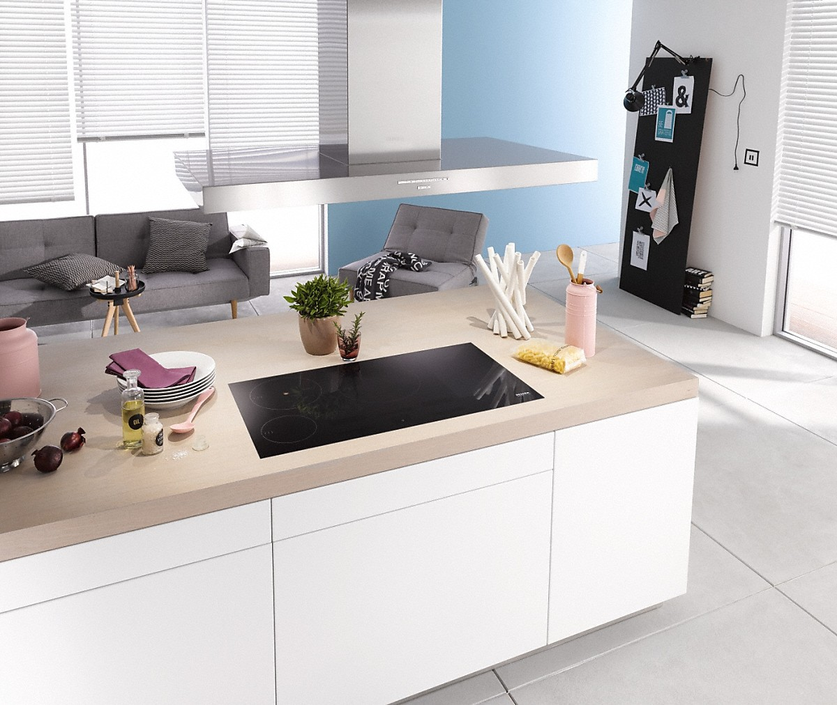 Model: 28424655USA | Miele Island decor hood with energy-efficient LED lighting and backlit controls for easy use.