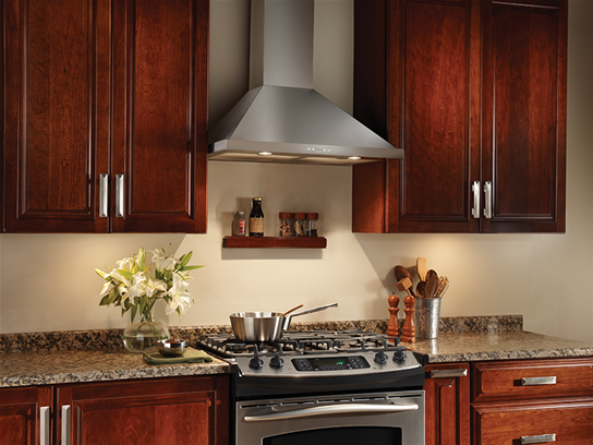 "Model: EW5830SS | Broan 30"" 500 CFM Stainless Steel Range Hood Traditional Canopy, Electronic Control"