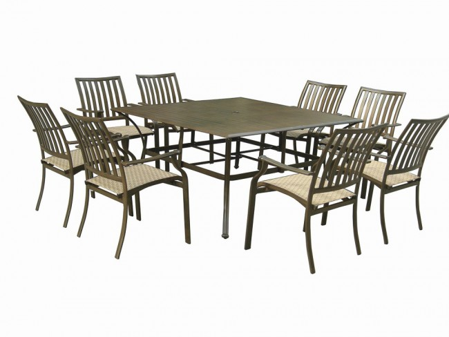 Island Breeze 9 PC Slatted Dining Group