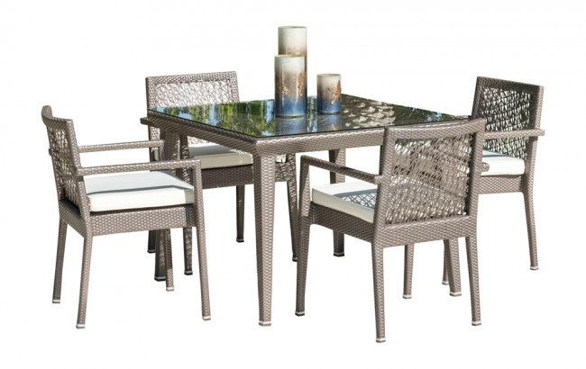 Maldives 5 PC Stackable Armchair Dining Set