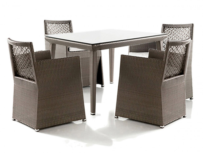 Maldives 5 PC Woven Armchair Dining Set